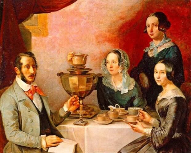 Т.Е. Мягков. Семейство за чайным столиком