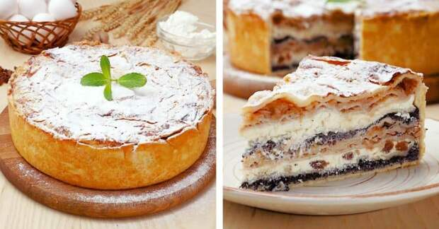 Балканский пирог с творогом и яблоками. Слоёное и многоэтажное лакомство 2