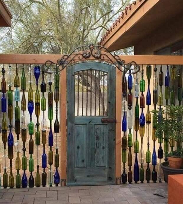 Куда деть лишние бутылки звонки, идеи для дома, идели для дачи, калитки, мангалы, светильники, скамейки, удобно