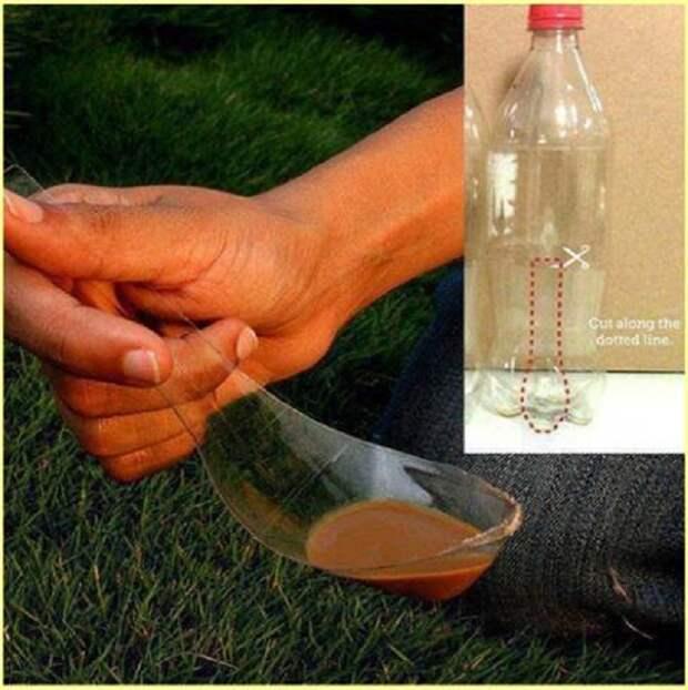 Вариант создания ложки из простой пластиковой бутылки, что станет успешным открытием.