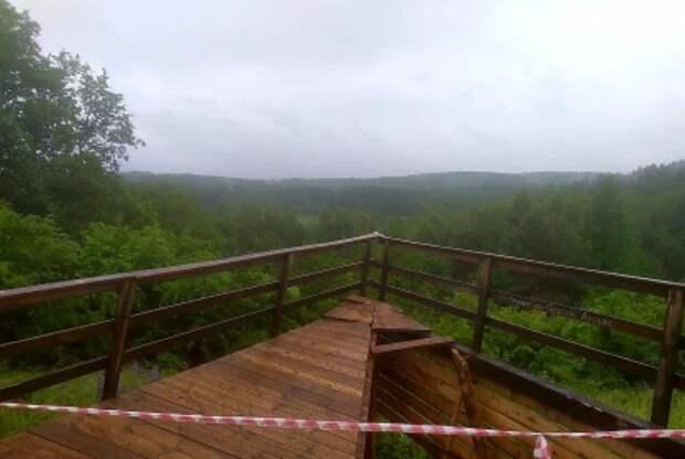 Смотровая площадка обрушилась под туристами вКалининградской области