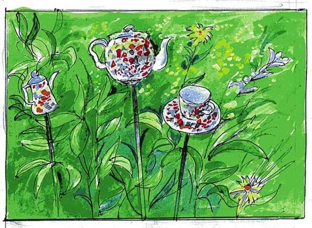 Эскиз чайного сервиза для цветника