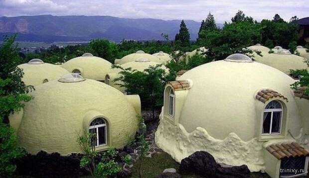 Как делают купольные дома из пенополистирола в Японии дом, купол, пенополистирол, япония