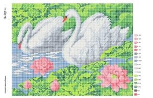 Белые лебеди в полной и частичной вышивке бисером