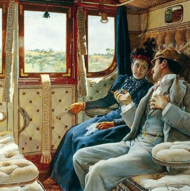 Р. Кабрера «Пара в поезде». 1890 год