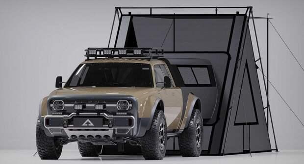 Представлена электрическая версия пикапа Alpha Wolf Plus с палаткой в кузове