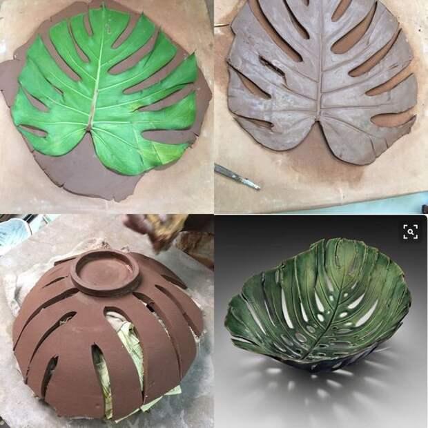 Интересные вазочки из листьев 2