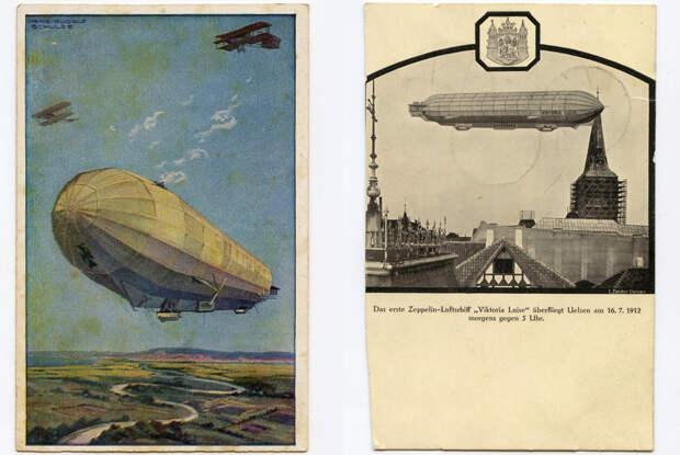 Гражданские цеппелины общества DELAG: Hansa (LZ-13) и Viktoria Luise (LZ-11). С началом Первой мировой войны оба были переданы вооруженным силам Германии