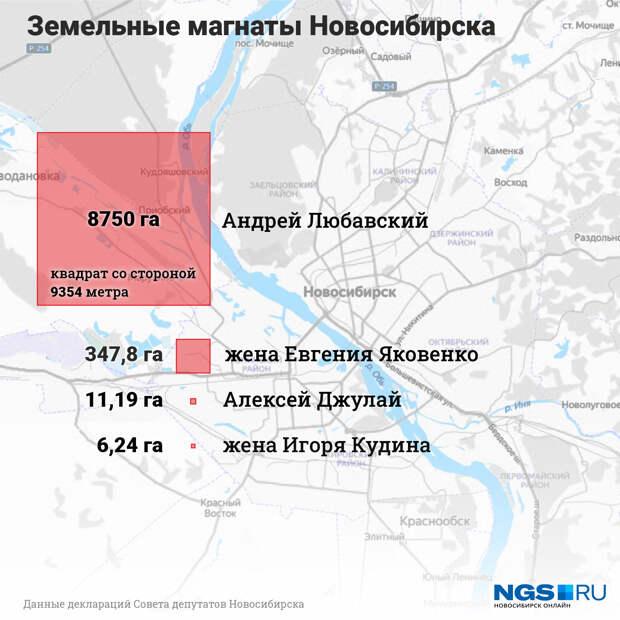 Депутат из Новосибирска задекларировал 87 миллионов квадратов земли — это пятая часть города