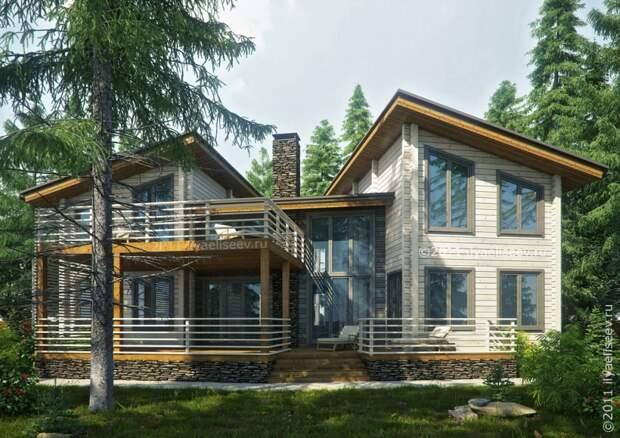 Деревянный дом, который вполне подойдет для проживания двух семей или для создания небольшой гостиницы