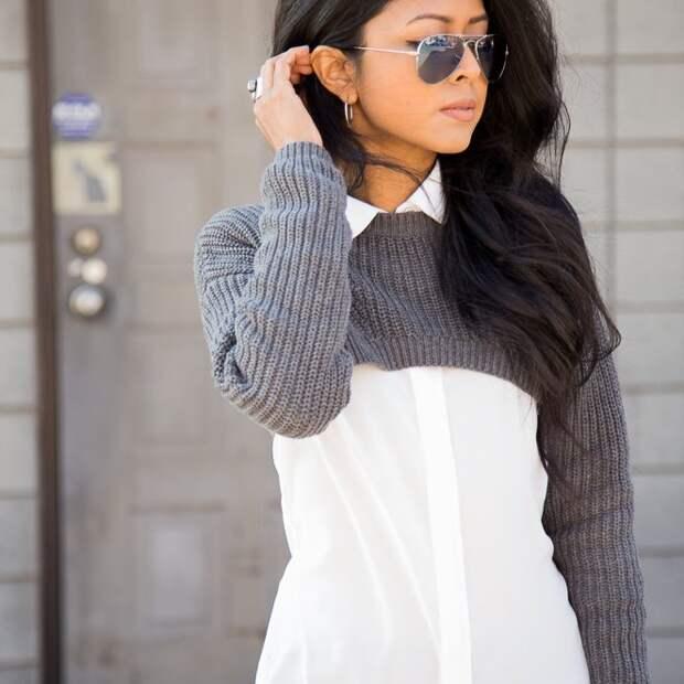 Короткий свитер + белая блузка