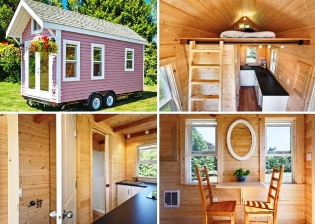 Домик на колесах полностью сделан из натурального дерева («Poco Pink», Канада). | Фото: littlethings.com.