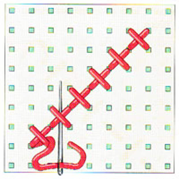 Вышивка крестиком по диагонали. Простая диагональ (фото 13)