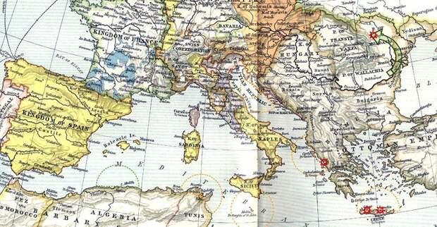 Европа (в государственных границах около 1560 года) и военные действия летом 1538 года. Для императора Карла первоочередную важность имели «внутриимперские» морские пути в западном Средиземноморье, из Испании в Италию, для Венеции — восточное Средиземноморье. commons.wikimedia.org - Превеза: сборы, споры, штурм, разведка   Военно-исторический портал Warspot.ru
