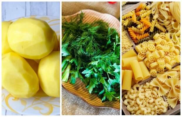 Продукты-абсорбенты впитают излишки соли: картофель, зелень, макаронные изделия