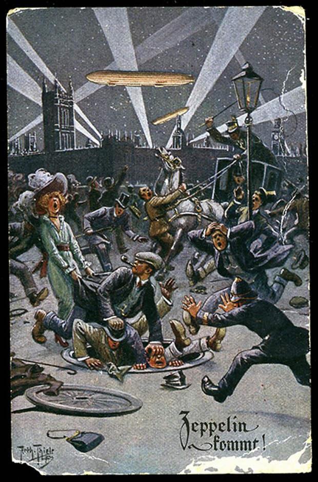 Рейд германских цеппелинов на Лондон. Немецкая открытка 1914 года