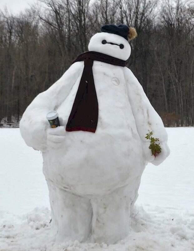 снеговики с детьми