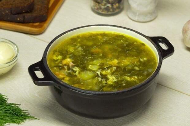 Классический щавелевый суп с яйцом
