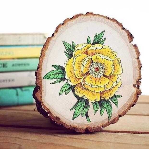 Роспись спила дерева - целое искусство
