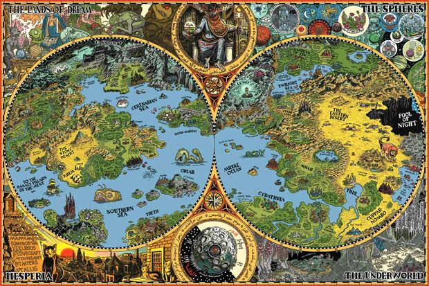 15 великолепных карт несуществующих миров Несуществующие миры, карты, фэнтези