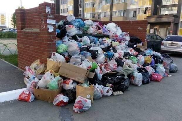 В одном из районов Челябинска случился мусорный коллапс из-за ямы на дороге