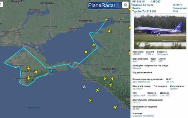 На странную миссию российского Ту-214ОН у Крыма обратили внимание в Сети