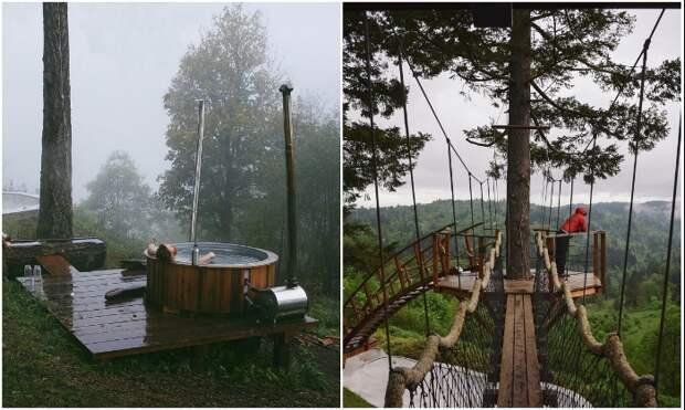 Огромная ванна на лоне природе и обзорная площадка на дереве – идеальный способ расслабления и восстановления (Фостер Хантингтон, «Treehouse»).   Фото: rope-park.com.