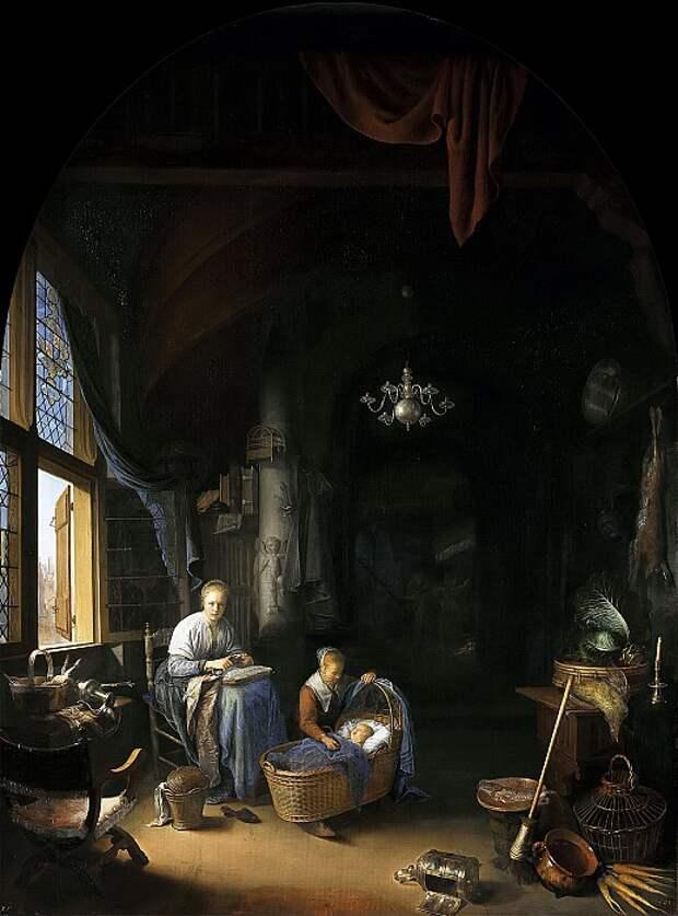 Г. Доу. «Молодая мать». В частности, на этой картине ни у одного из персонажей не увидеть ушей; само произведение же было выкуплено за 4000 гульденов в подарок английскому королю Карлу II