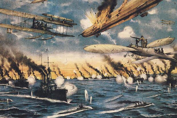 Иллюстрация к роману Герберта Уэллса «Война в воздухе»