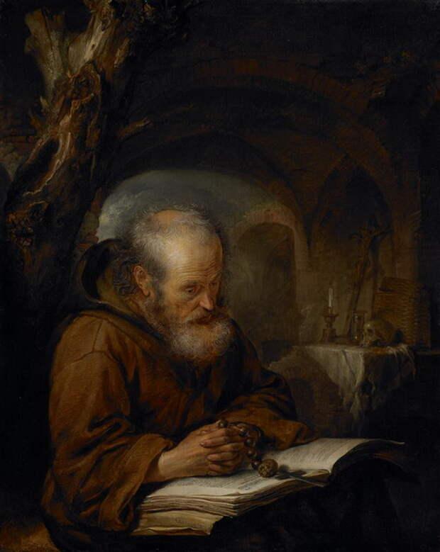 Г. Доу. «Молящийся отшельник», часто повторяющийся сюжет в творчестве художника