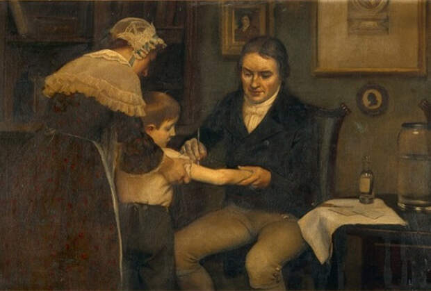 Дженнер проводит вакцинацию коровьей оспой