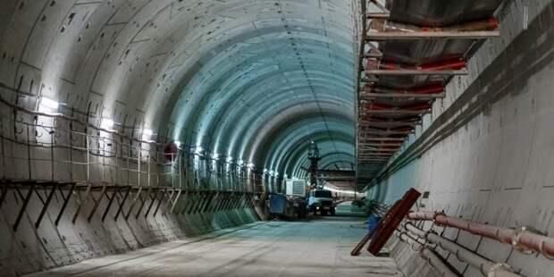 Собянин осмотрел ход строительства станции метро «Пыхтино». Фото: М. Мишин mos.ru