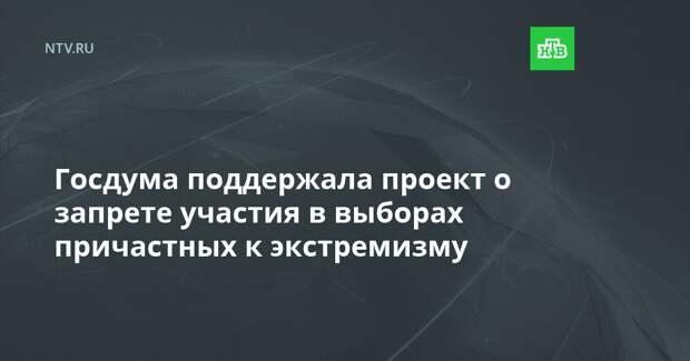 Госдума поддержала проект о запрете участия в выборах причастных к экстремизму