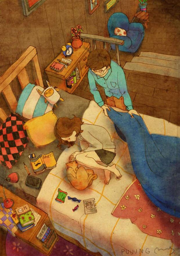 Любовь - это накрыть ее одеялом, когда она уснула.