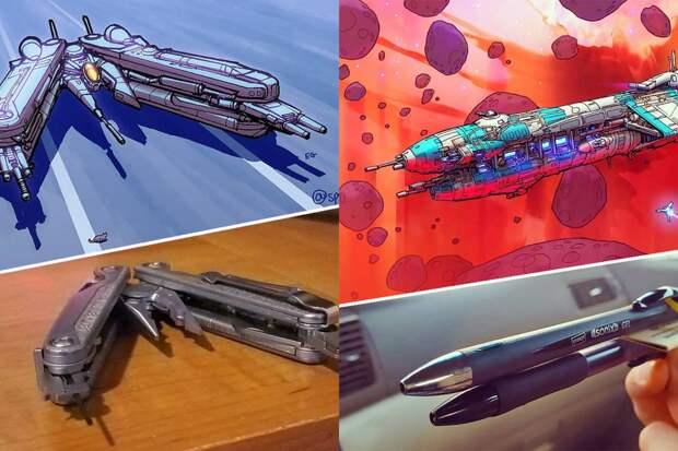 Художник превращает обычные вещи в космические корабли и результат поражает