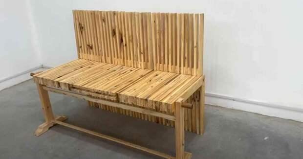 Мебель-трансформер для дачи. 4 варианта использования: скамейка, стулья «на троих», два кресла со столом и просто журнальный столик