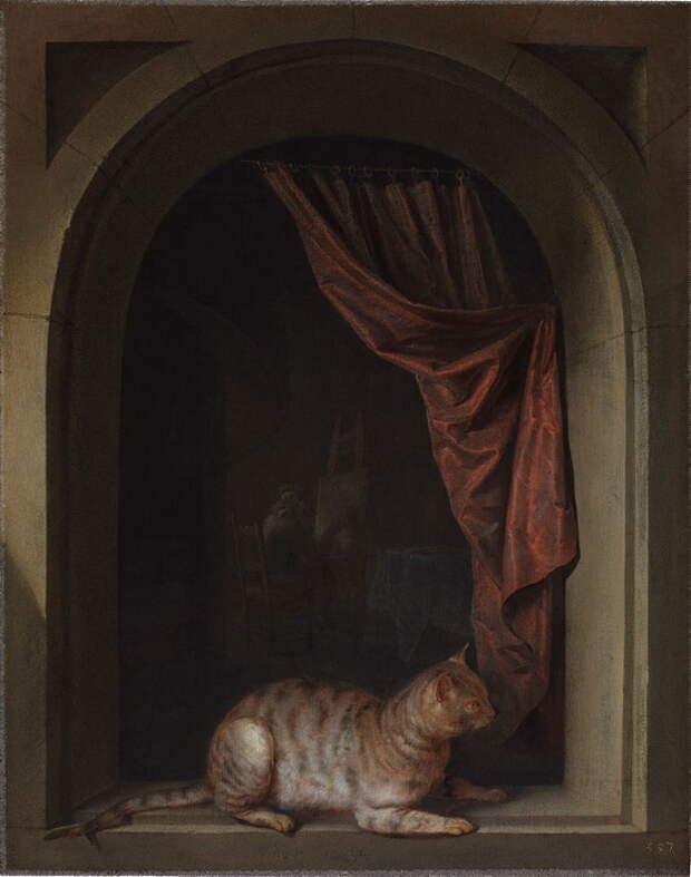 Г. Доу. «Кошка, присевшая на подоконник в мастерской художника»