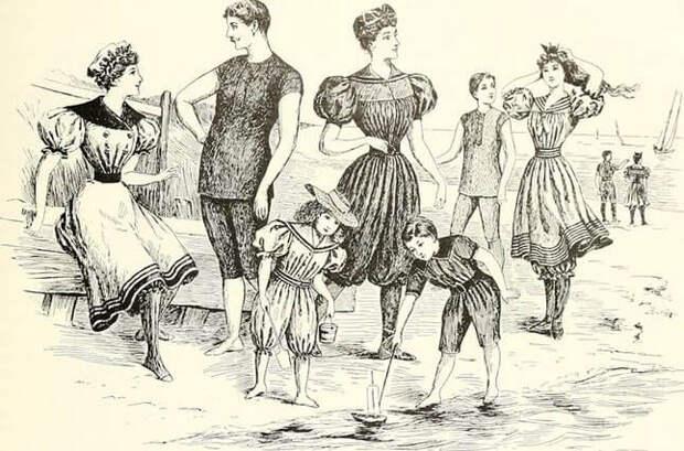 Купальные костюмы второй половины 19-го века.
