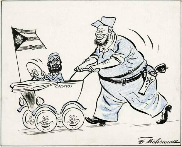 Советский лидер Никита Хрущев и его юный воспитанник Фидель Кастро