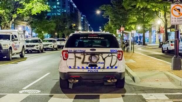 Протестующие «украсили» полицейский автомобиль