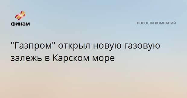 """""""Газпром"""" открыл новую газовую залежь в Карском море"""
