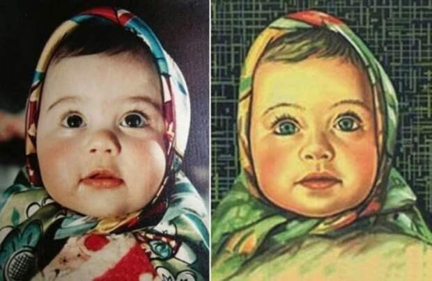 Елена Геринас в 5-месячном возрасте и на обёртке шоколада «Алёнка». / Фото: www.gorod.lv
