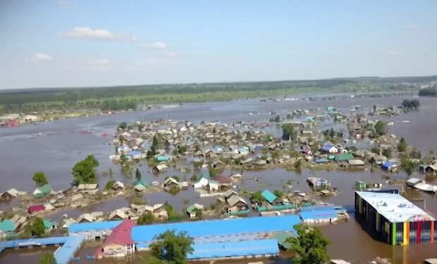 Последствия паводка в Иркутской области сняли с дрона