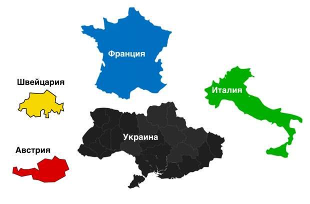 Сравнительные размеры Украины и других стран Европы