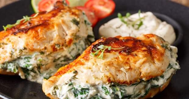 ПП-рецепт: куриное филе с творогом и зеленью