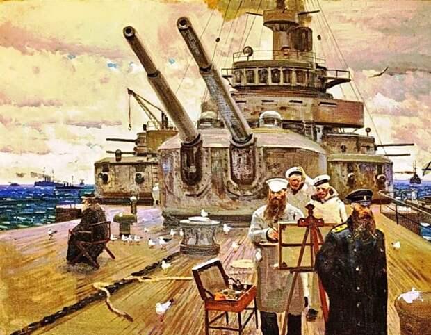 """На картине Павла Рыженко броненосец """"Петропавловск"""" не совсем похож на то, что было на самом деле. Ну уж что есть."""