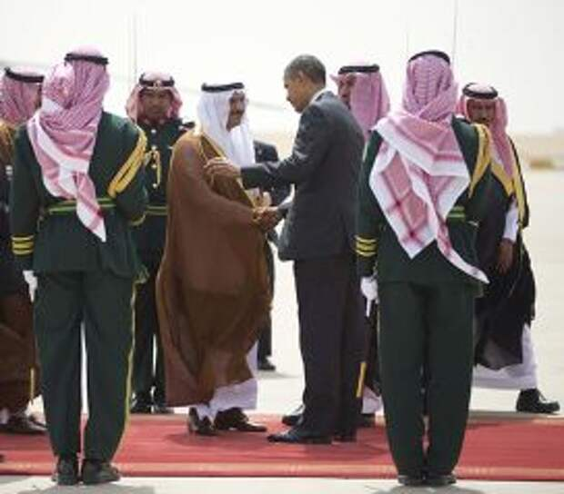 Барак Обама и Халид бин Бандар аль Сауд в Эр-Рияде