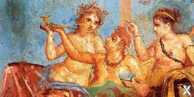 Сцена застолья. Фреска в Помпеях