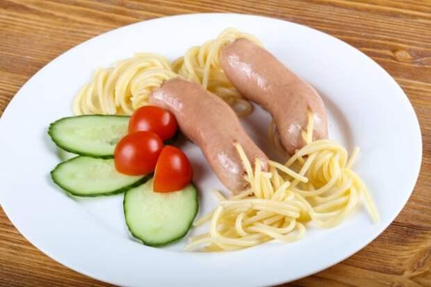 сосиски со спагетти
