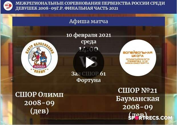 СШОР Олимп - СШОР №21 Бауманская. (Девушки 2008-09 г.р.). Полный матч.